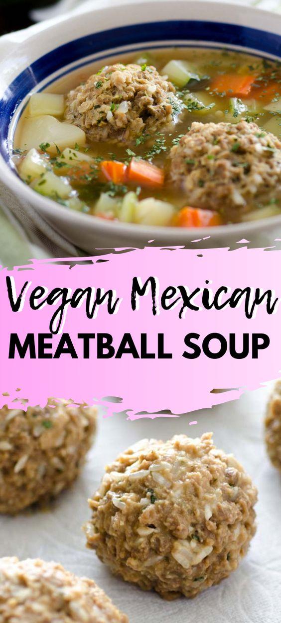 Vegan Mexican Meatball Soup