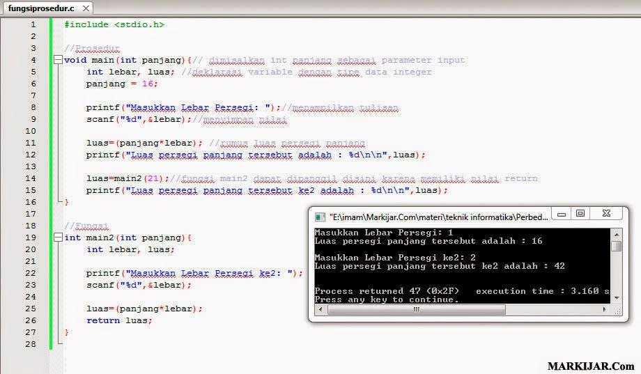 Perbedaan Fungsi dan Prosedur dalam C++, program c++, bahasa c++