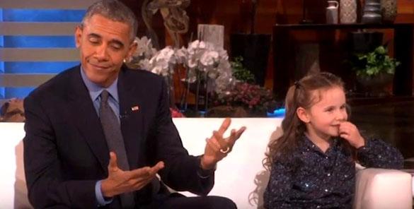 El presidente Obama reacciona a la pregunta de Macey Hensley sobre los secretos presidenciales.