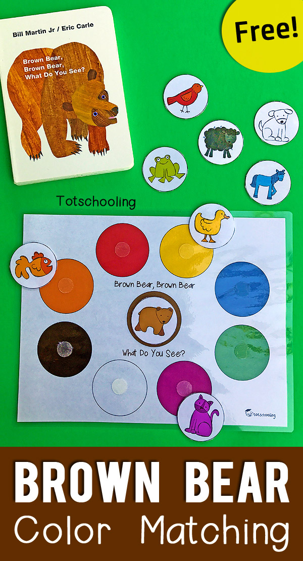 brown bear color matching printable for toddlers totschooling