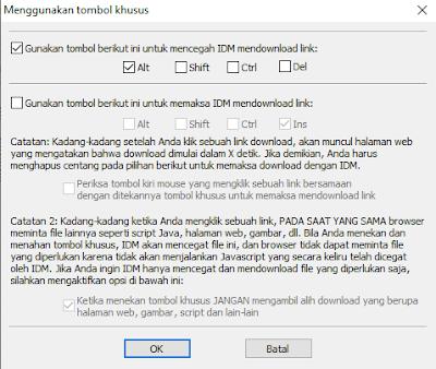 pilih tombol untuk mencegah download idm