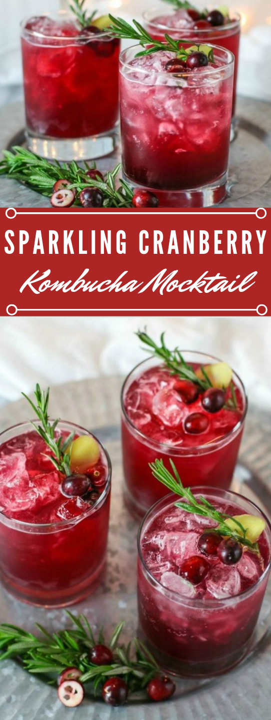 Sparkling Cranberry Kombucha Mocktail #drink #delicious #sangria #mocktail #smoothie