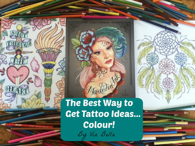 The Best Way to Get Tattoo Ideas... Colour!, Book Review, Via Bella, Adult Colouring Books, adult coloring books, NY Ink, America's Worst Tattoos, Via Bella, Tattoos, Tattoos Ideas, Heart Breaking, colouring therapy