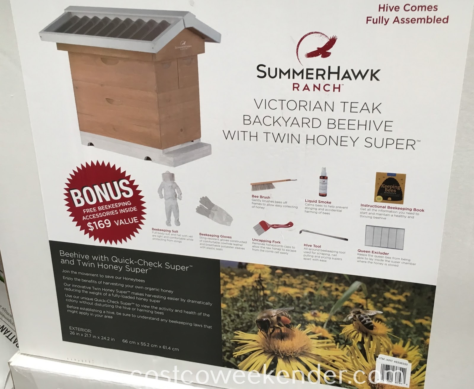 Costco 8338333 - Backyard Beehive Honey Harvest Starter Kit features Quick-Check Super and Twin Honey Super