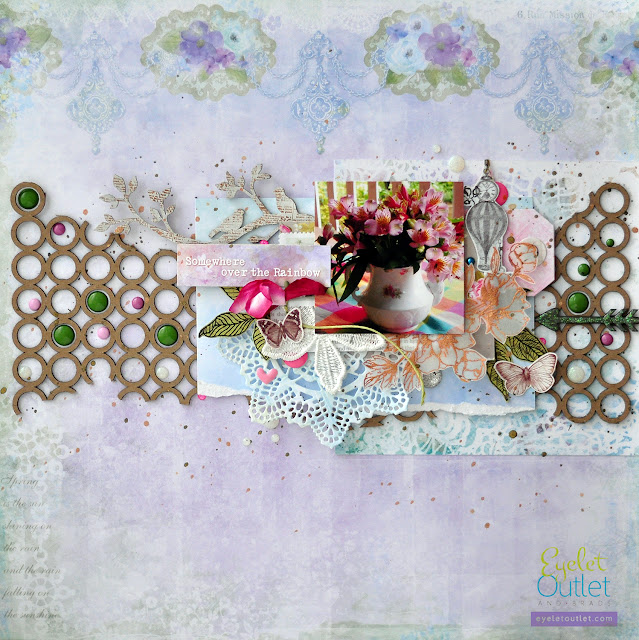 somewhere over the rainbow | Eyelet Outlet DT @akonitt #layout #by_marina_gridasova #bluefern #chipboard #enamels #enameldots #lesiazgharda #scrapbooking