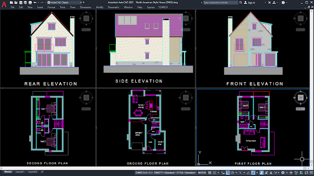 North American Style House [DWG]