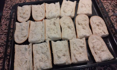 hacemos las rebanadas para los paninis