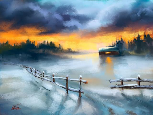 Winter silence digital soft pastels mysterious landscape by Mikko Tyllinen