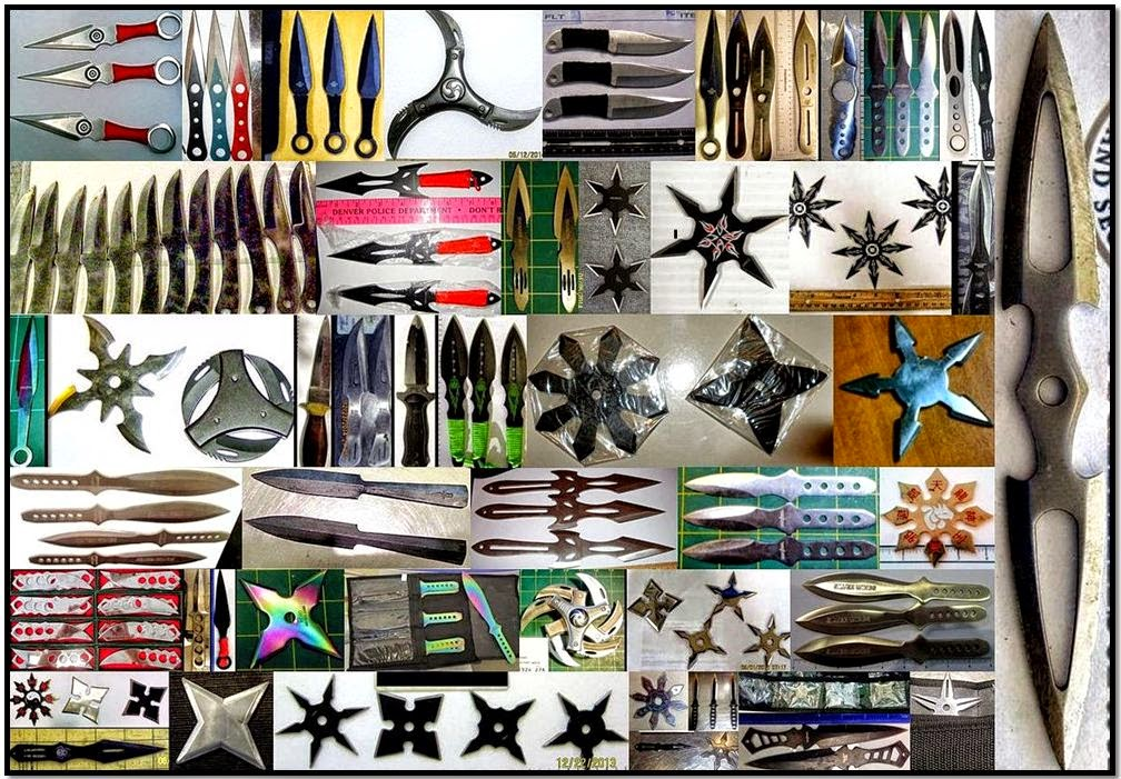 A selection of throwing knives and stars our officers discovered in 2014