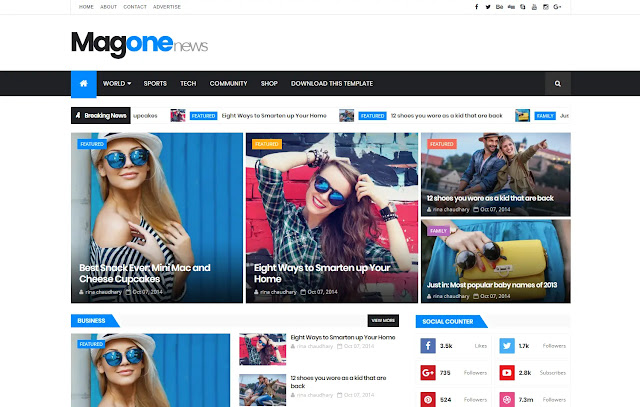 MagOne Responsive Magazine News Clean Blogger Template Theme