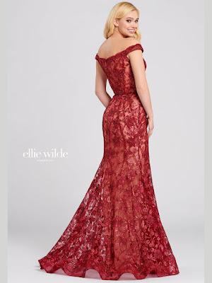 Ellie Wilde off-the shoulder Wine color Prom dress back side