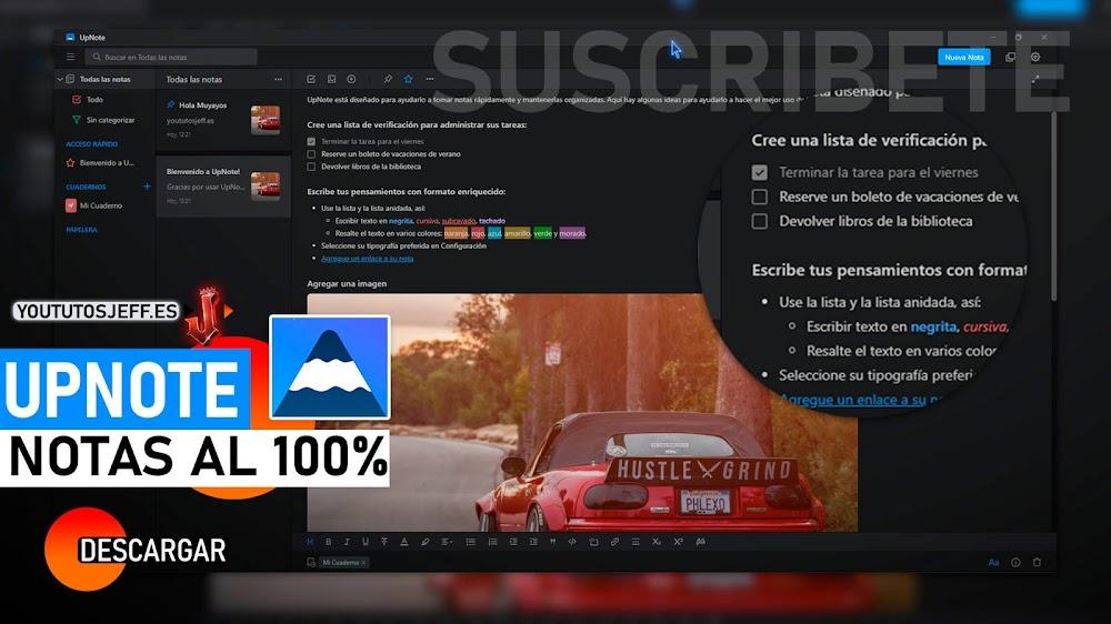 Organizador de Notas Muy Completo, Descargar UpNote para PC