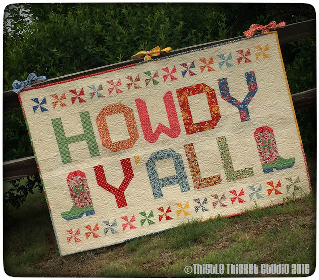Howdy Y'all Quilt, Thistle Thicket Studio, cowboy boot block, Moda Bake Shop recipe