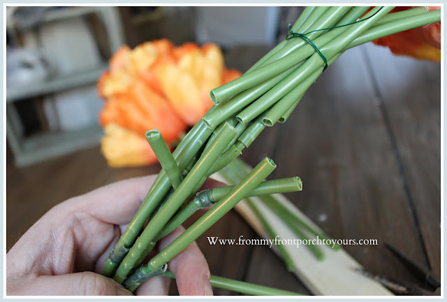 Spring-Easter-DIY-Carrot Tulip Wreath-Tulip Bundles-Orange-Tutorial-From My Front Porch To Yours