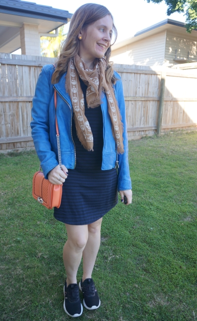cobalt leather jacket with navy stripe tee dress, sneakers, Alexander McQueen skull scarf, small love bag   awayfromblue