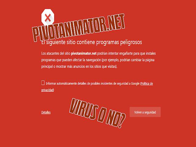 Pivotanimator.net alarmas del anti-virus
