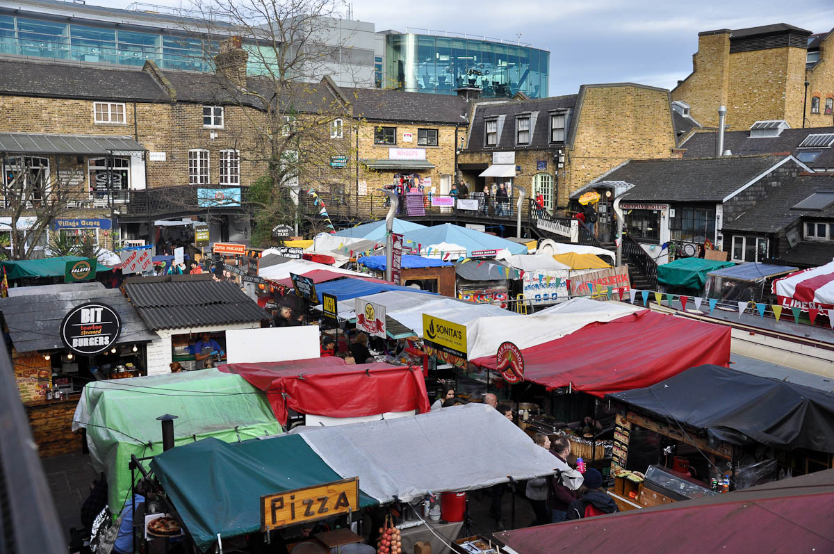 The food stalls seen from above, Camden Lock Market, Camden Town, London, England