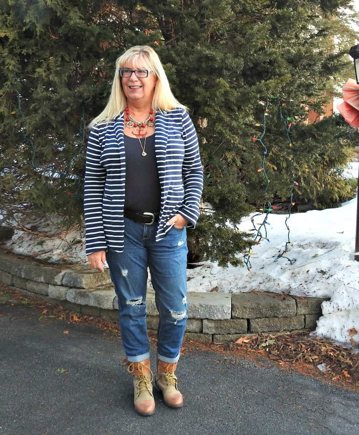 Old Navy Boyfriend jeans with the striped Blazer works well and Giant Tiger boots. Nautical necklaces