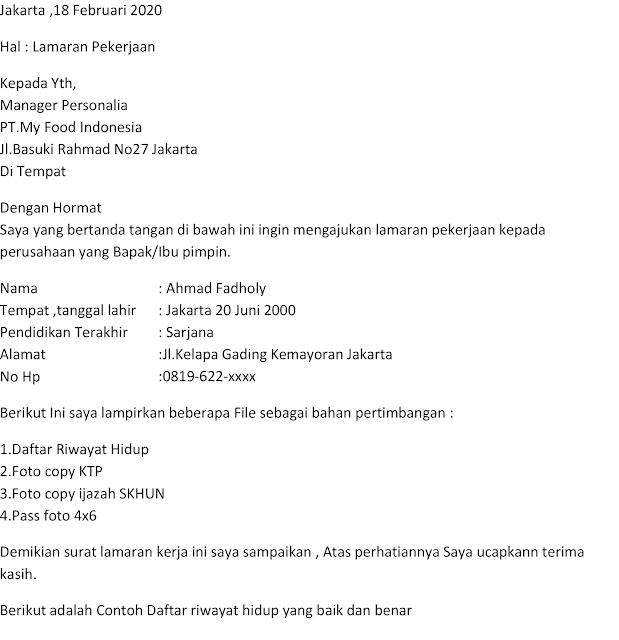 Contoh Daftar Riwayat Hidup Lamaran Kerja Di Pt