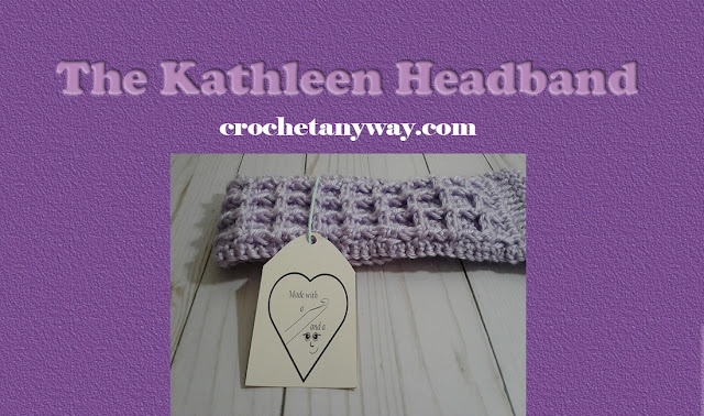 Crocheted purple waffle stitch headband with gift tag.
