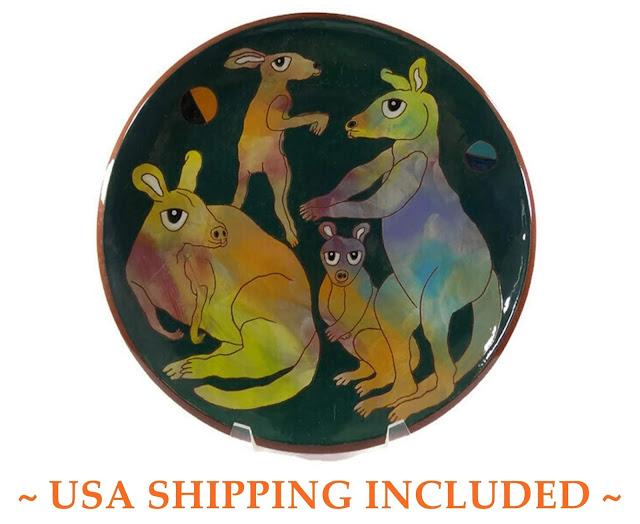 Kangaroos Playing Volleyball 1996 Washington Ledesma Large Terracotta Art Pottery Plate