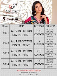Charizma Signature Vol 1 Muslin Pakistani Suits Wholesaler
