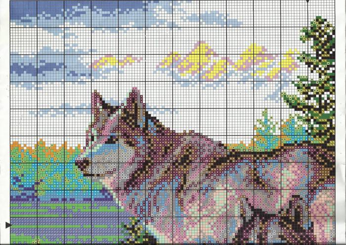 Схемы для вышивки крестом с волками
