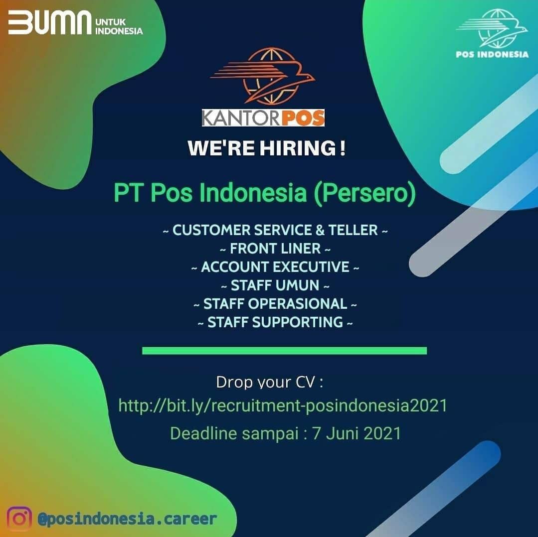 Lowongan Kerja Bumn Sma Smk D3 S1 Pt Pos Indonesia Persero Tbk Juni 2021 Lowongan Kerja Medan Terbaru Tahun 2021