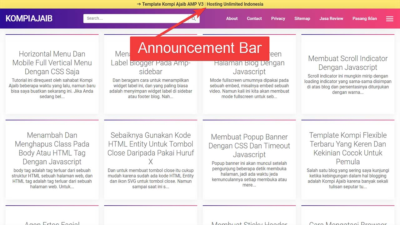 Membuat Announcement Bar Sticky Header Di Template Kompi Ajaib AMP V3