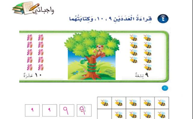 حل درس قراءة العددين 9 ،10، وكتابتهما الرياضيات للصف الأول ابتدائي