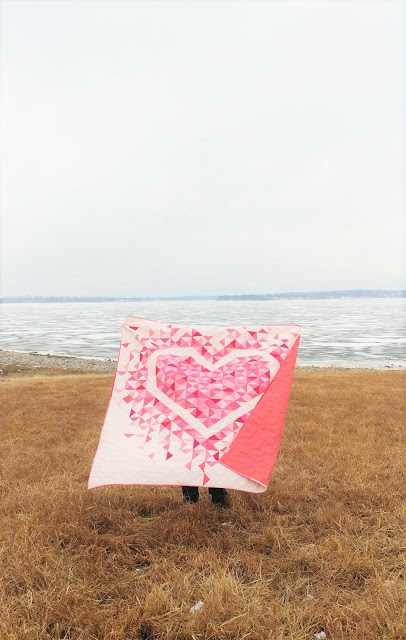 Exploding Heart quilt made in all solid pink Riley Blake Confetti Cotton fabrics