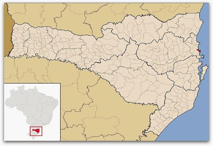 Cidade de Balneário Camboriú, no mapa de Santa Catarina