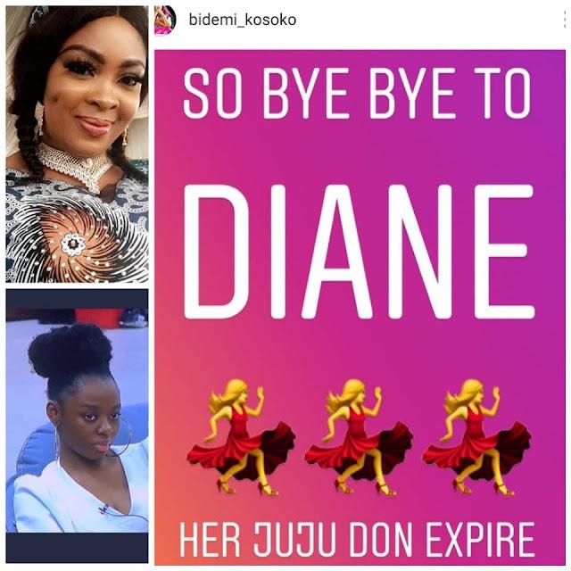"#BBNaija: 'Her juju don expire"" – Bidemi Kosoko reacts to Diane's eviction from the reality show"