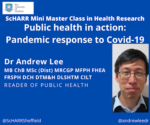 Image of Andrew Lee, and health webinar poster