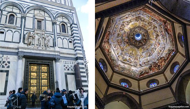 O Batistério de Florença (esq) e o interior da cúpula de Brunelleschi, no Duomo