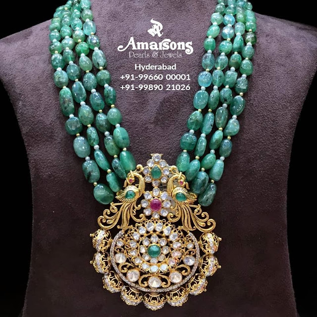 Emerald Beads Necklace with Pachi Pendant