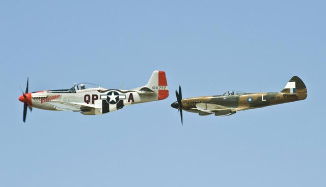 Spitfire Mk. XIV and P-51D together worldwartwo.filminspector.com