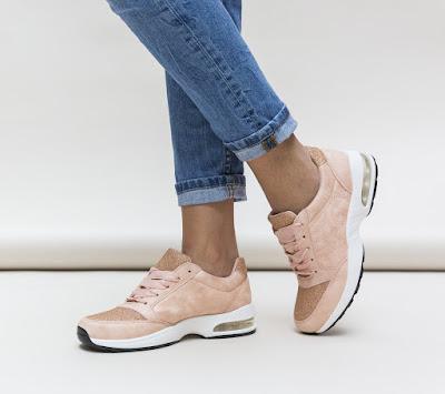 pantofi sport moderni din piele eco intoarsa roz 2018