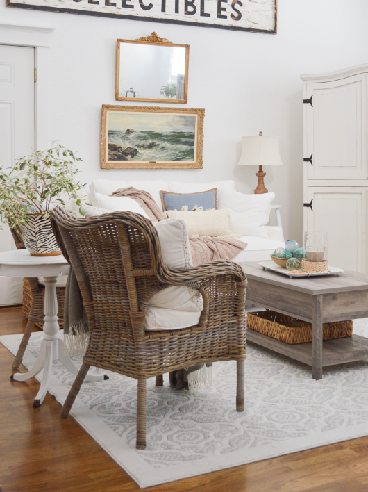 Wicker Chair Coastal Living Room Farmhouse Style