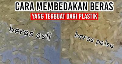 Cara membedakan beras yang terbuat dari plastik