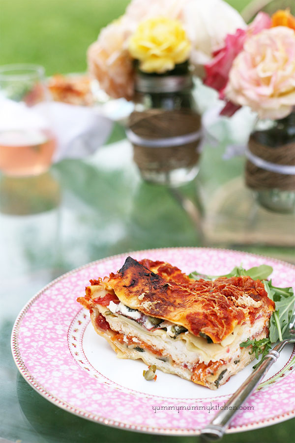 vegetarian summer lasagna with heirloom tomatoes and kale