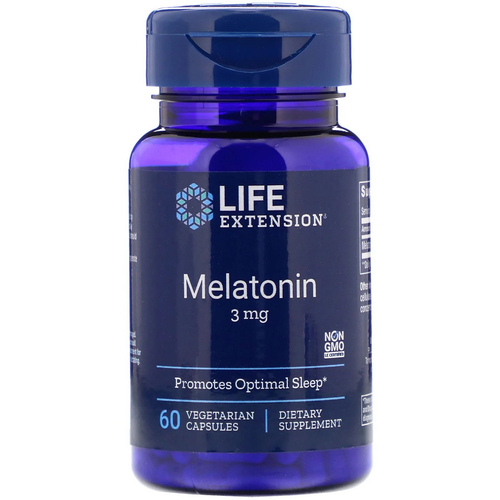 Life Extension, Мелатонин, 3 мг, 60 вегетарианских капсул