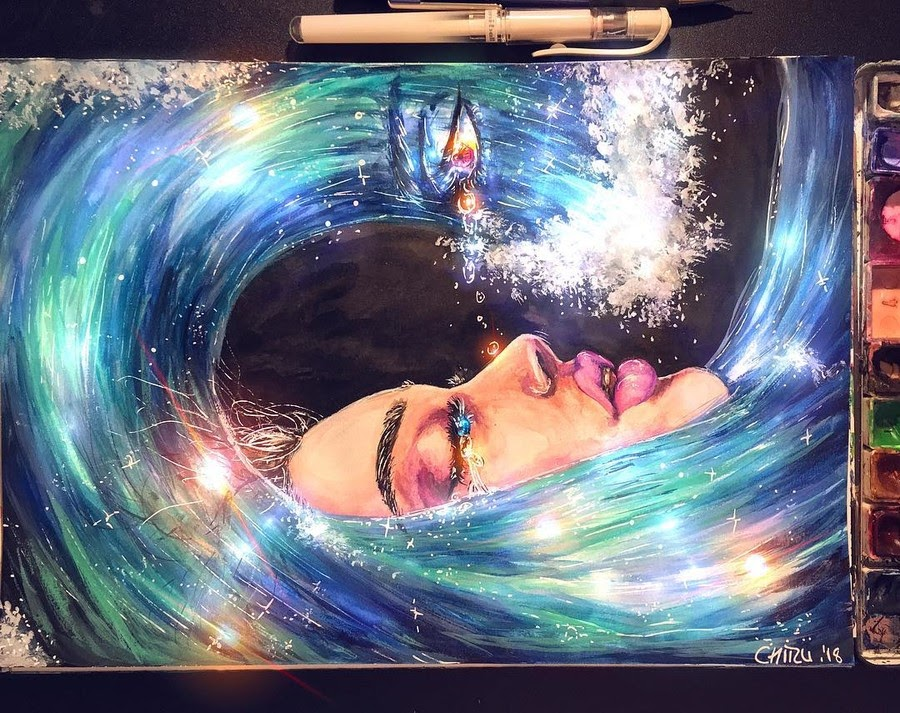 12-Self reflection-chiizu-art-Drawing-Dark-Subjects-Bursting-with-Color-www-designstack-co