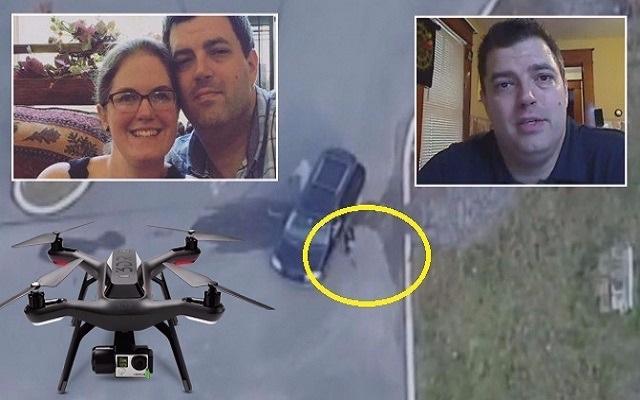 زوج امريكي يكتشف أن زوجته تخونه بعد تتبعها بطائرة الدرون