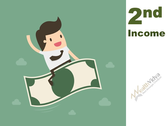 Investor Riding a Currency Note, happy with second income or extra income