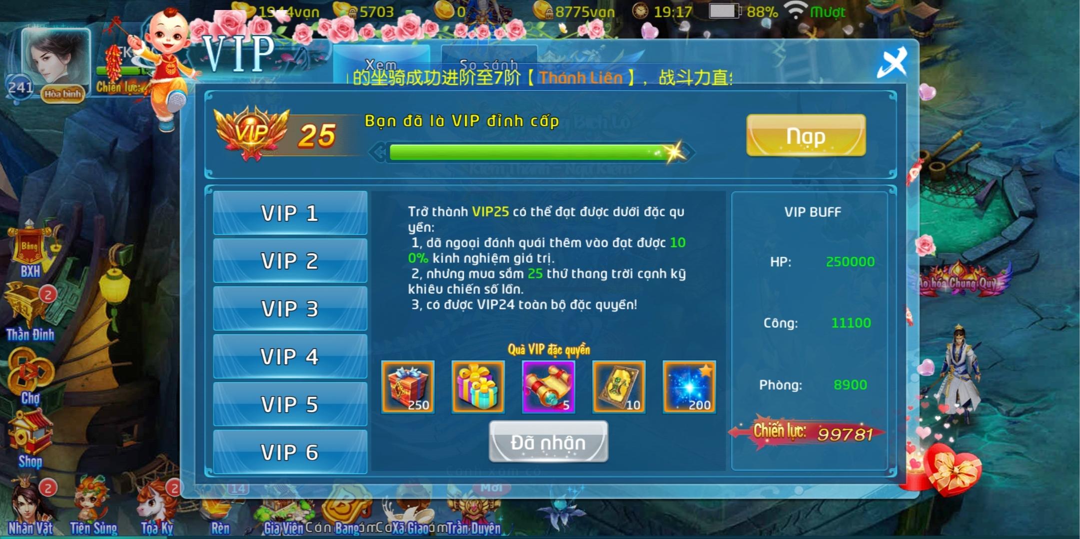 Phi Tiên Mobile Private Việt Hóa | Free VIP 25 | 20000000 KNB | Hoạt Động Event Hấp Dẫn
