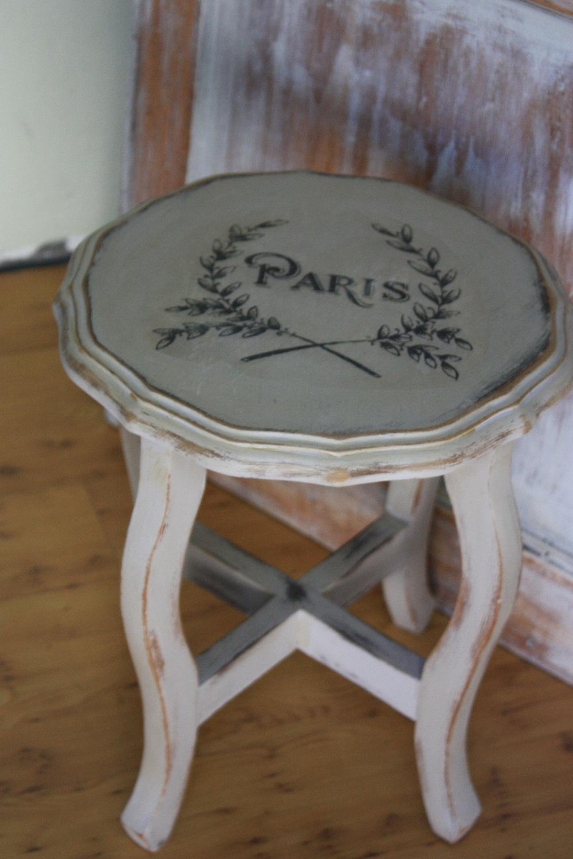 Evocative Vintage Antiqued Chalk Paint End Table Paris