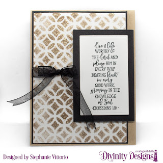Divinity Designs Stamp Set: Peach Branch,  Mixed Media Stencil: Circles, Custom Dies: Rectangles