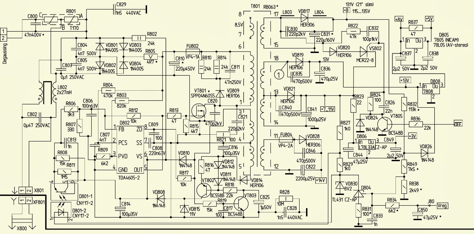 Smps Schematic Diagram 2005 Jeep Grand Cherokee Car Stereo Wiring 21ct05fs  25ct06fs 29ct07fs Akai Tv