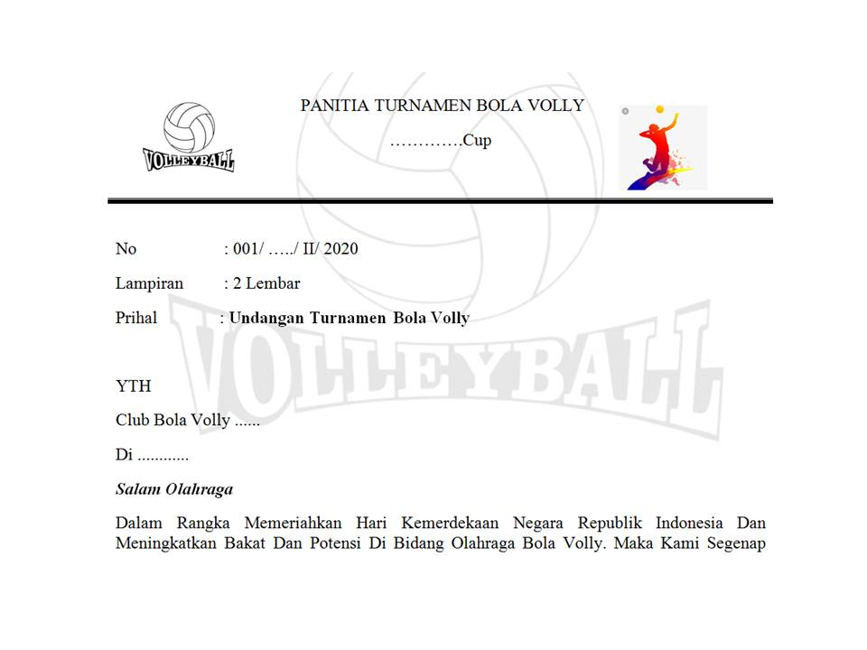 Contoh Surat Undangan Turnamen Bola Volly Husnuls492 Com